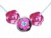 Collana fiorellini di stoffa e perle