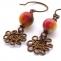 orecchini filo perline e filo di rame motivo a fiore