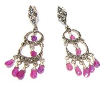 orecchini con perline rosa